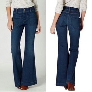 Anthro Holding Horses High Rise Flare Jeans